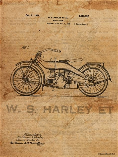 Vintage Harley Davidson Photos by Vintage Patent Drawing Of Harley Davidson Motorcycle