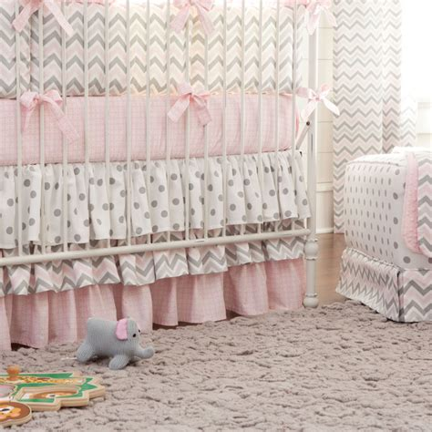 pink and gray chevron baby bedding pink and gray chevron 3 tiered crib skirt contemporary