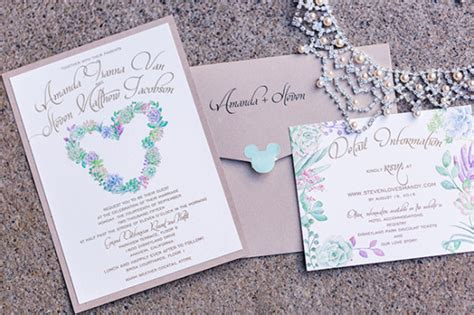 sending wedding invitations to disneyland purple and green disneyland wedding