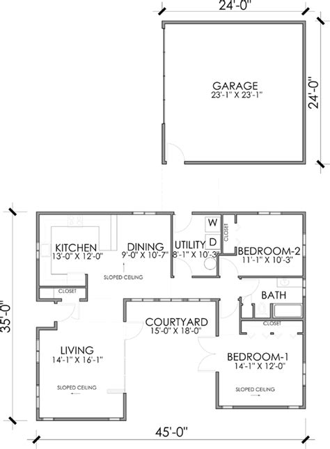 simple efficient house plans two bedroom with detached garage