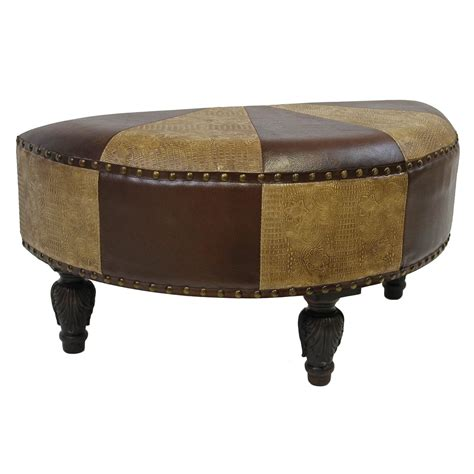 round faux leather ottoman international caravan carmel faux leather 20 quot round