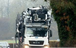 brand new car crash ford cars wrecked after transporter became wedged