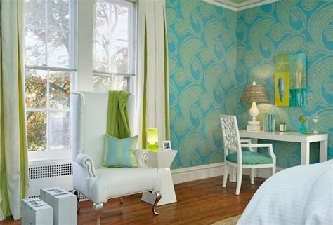 turquoise bedroom wallpaper turquoise and green girl s room contemporary bedroom