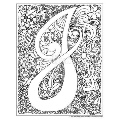 coloring pages for adults letter t instant digital download adult coloring page letter j