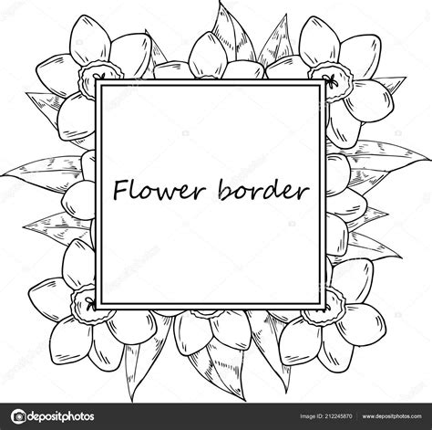 Flower Circle Border Drawing Flowers Healthy Steunk Invitation Template