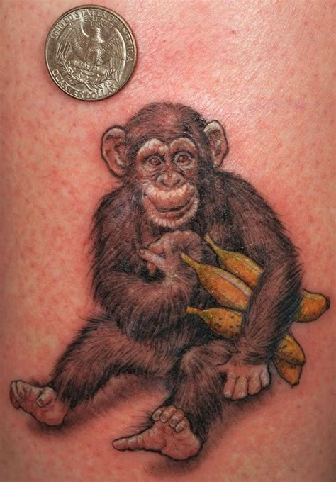small monkey tattoo lovely small monkey with bananas tattoos pm