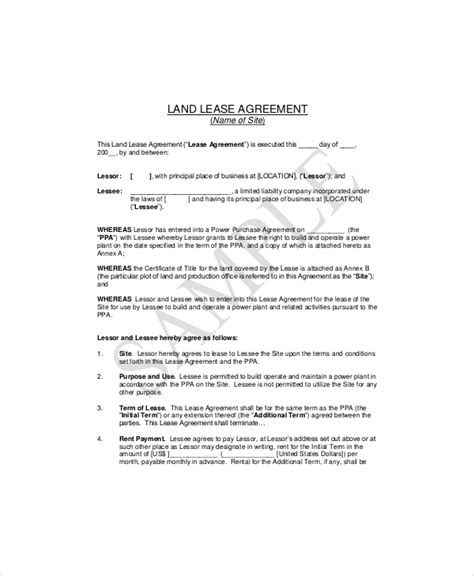 farm land lease agreement template sle land lease agreement templates resume template sle