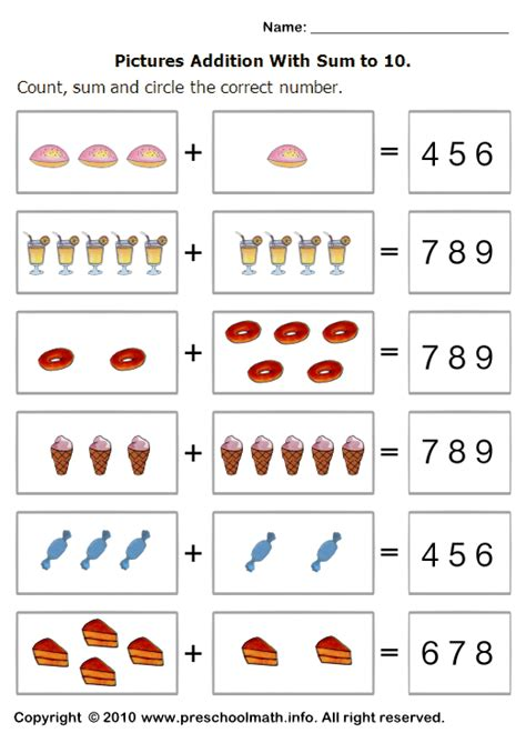 printable addition games for kindergarten basic addition worksheets with sum to 10 and circle the