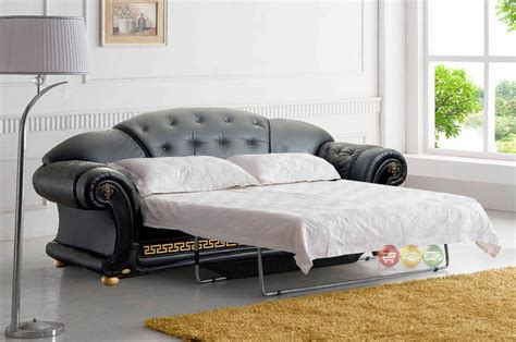 Luxury Sleeper Sofa with Versace Luxury Button Tufted Black Italian Leather Pull Out Sleeper Sofa
