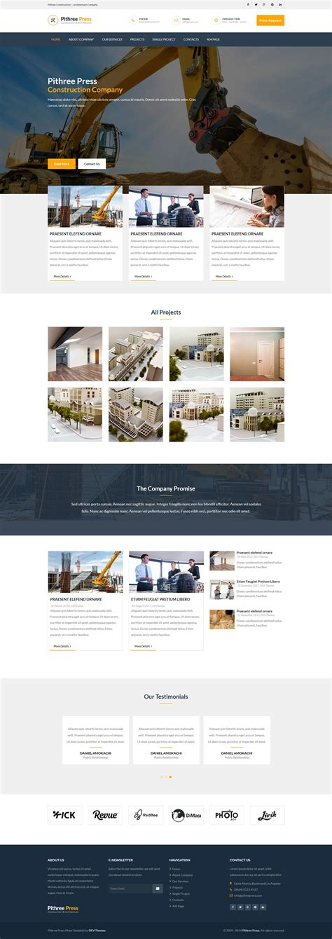 free responsive muse templates pithree press construction business responsive muse