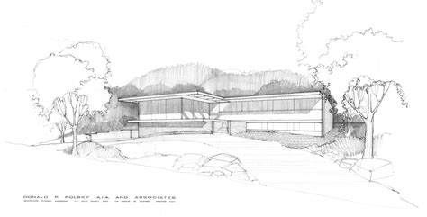 modern mid century exterior house sketch drawing
