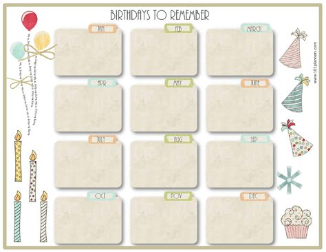 family birthday calendar template search results for free family birthday calendar template