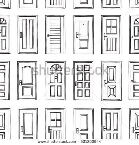 door pattern types black white cute kids seamless pattern stock vector