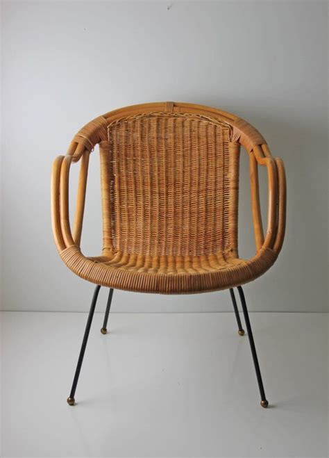 wicker basket chair mid century modern arthur umanoff style wicker basket