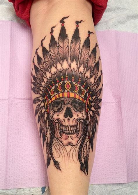 skull headdress tattoo indian headdress drawing