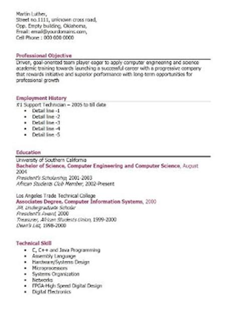 fresh and free resume sles for professional