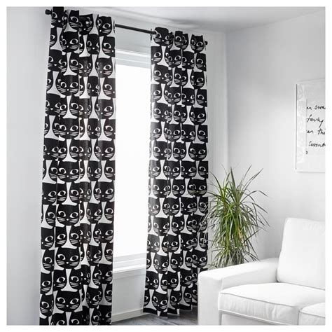 ikea gardinen trockner ikea gardinen paar katzen mattram schwarz wei 223 mit 214 sen ebay