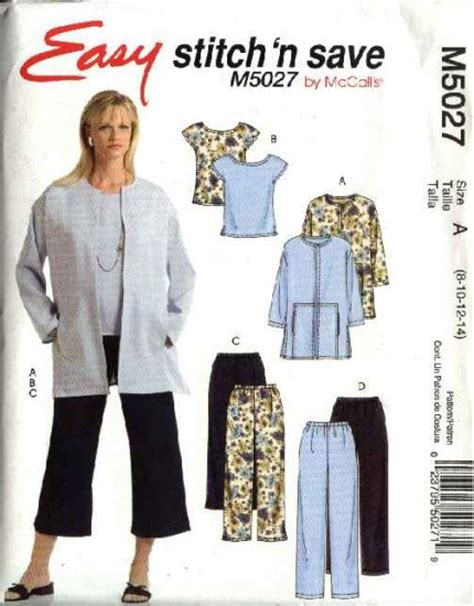 sewing pattern unlined jacket mccall s sewing pattern 5027 misses size 8 14 easy unlined