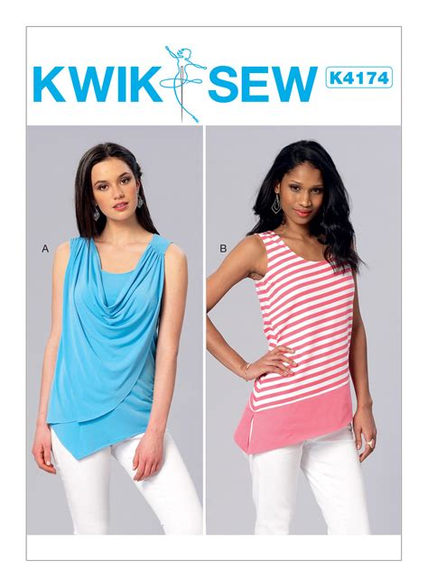 pattern review kwik sew 3601 kwik sew 4174 misses front drape or banded tank tops