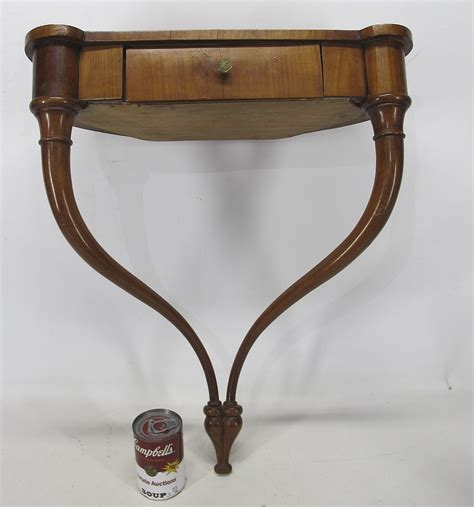 Demilune Shelf by Antique A L Diament Co Fruitwood Hanging Demilune Console Table W Drawer Yqz Ebay