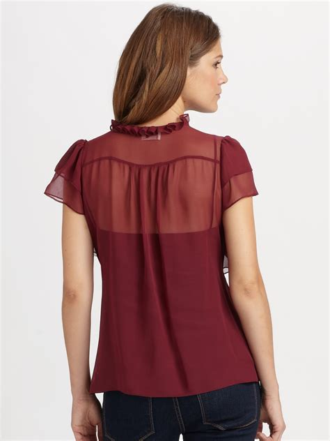 Instant Ruffle Bergo 19 lyst milly saddie ruffle blouse in purple