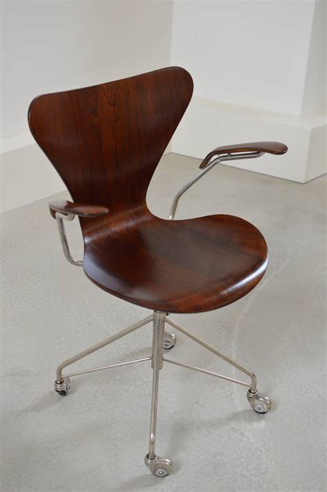 Earliest Arne Jacobsen Rosewood Swivel Desk Chair With Desk Swivel Chairs