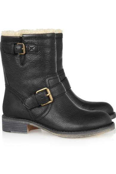 marc by marc shearling lined leather biker boots