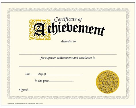 Printable Achievement Certificates Certificate Templates Certificate Of Achievement Template