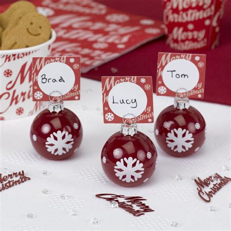 christmas baubles name holders 6 merry bauble place card holders 5060175499080 ebay