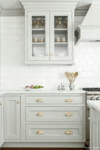 White Cabinets With Antique Brass Hardware Look We Love Gray Kitchen Cabinets With Brass Hardware