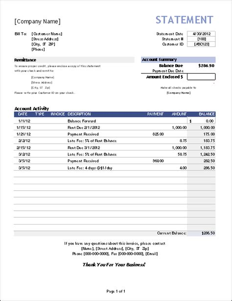 statement  account template pay statements