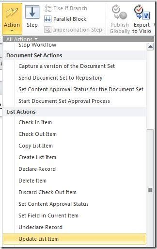 sharepoint designer workflow update list item sharepoint 2010 update all list items sharepoint