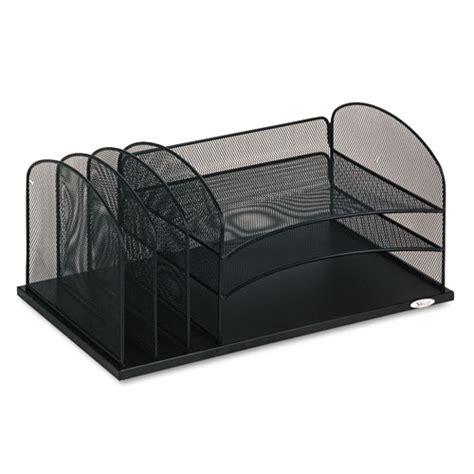 Safco Desk Organizer Safco 174 Desk Organizer Six Sections Steel Mesh 19 3 8 X 11 3 8 X 8 Black Saf3254bl