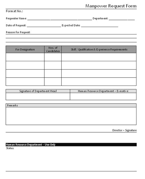 manpower request form format sles word document
