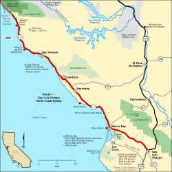 map of route 1 california route 1 san luis obispo coast byway map