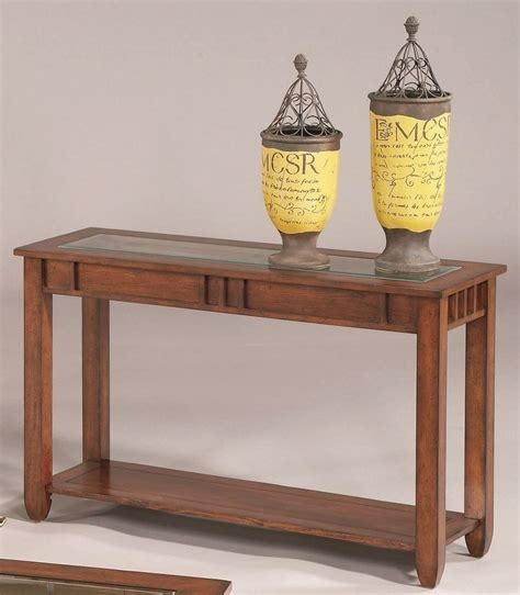 Cherry Sofa Table Mission Brown Cherry Sofa Table 44052 05 Progressive