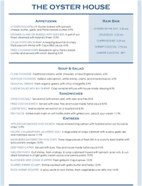 boshs seafood oyster house oyster house menu 28 images doc magrogan s oyster house menu zomato united states