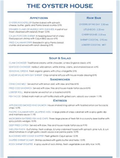 oyster house menu oyster house menu seafood menus