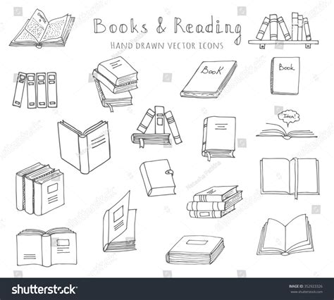 read doodle doodle books reading set stock vector 352923326