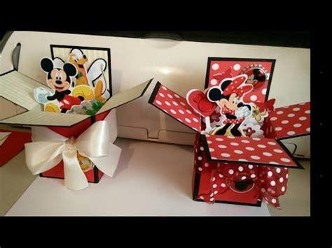 pop up card box template christmas pop up box cards disney mickey minnie tutorial