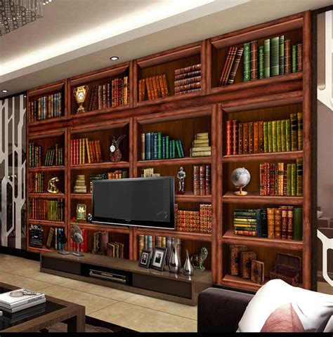living room bookshelf bookcase 3d backdrop large mural
