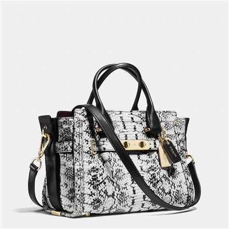 Coach Swagger 27 In Smooth Leather Black coach swagger 27 in colorblock embossed leather in