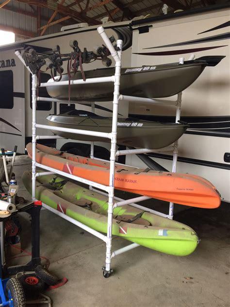 Kayak Rack For Garage by Pvc Kayak Rack Can Store 4 Kayaks Paddles