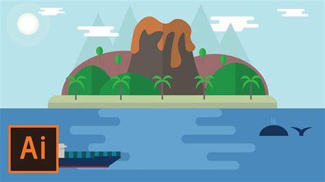 flat landscape illustrator tutorial for beginners youtube illustrator tutorial beach island and ocean landscape