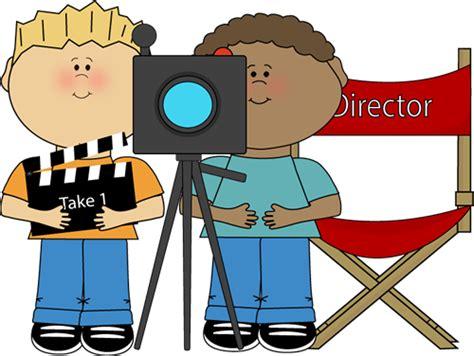 Day Lights Saving Time Kids Directing Behind Movie Camera Clip Art Kids