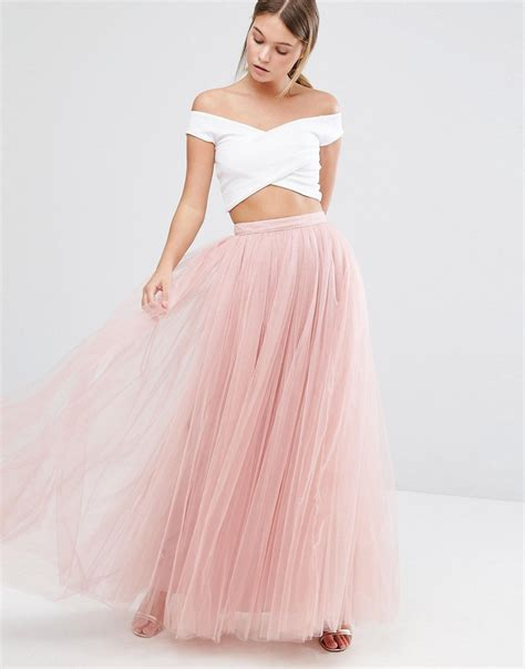 tulle maxi skirt in pink lyst