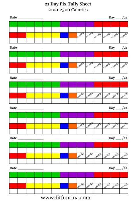 21 Day Fix Spreadsheet by 21 Day Fix Tally Sheets Fit Tina