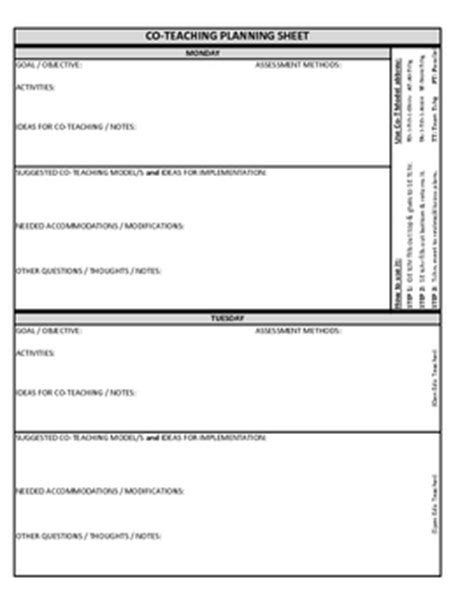 team lesson plan template co teaching planning template version 3 of 3 teaching