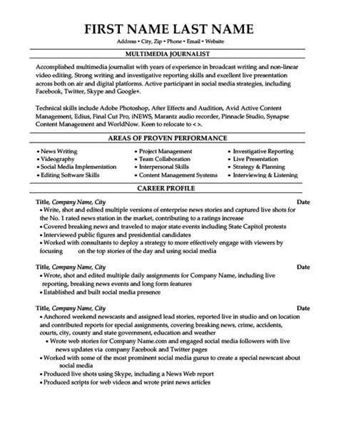 multimedia journalist resume template premium resume sles exle