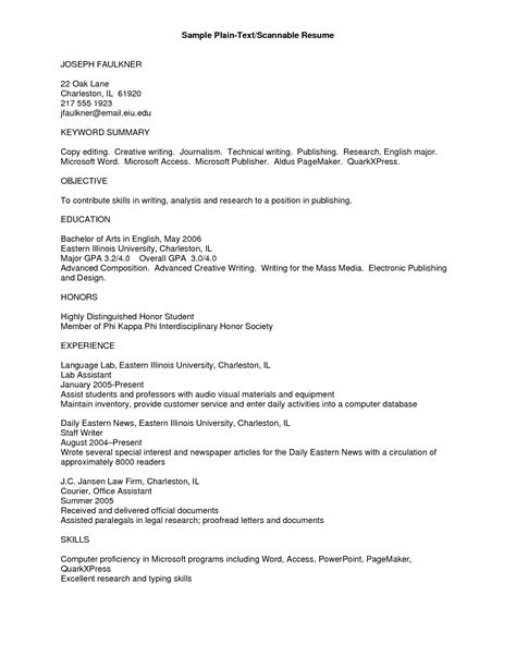 Text Resume Template   Free Resume Templates